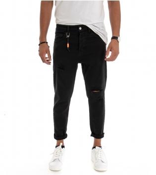 Pantalone Uomo Tinta Unita Nero Rotture Cinque Tasche GIOSAL