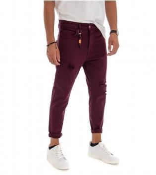 Pantalone Uomo Tinta Unita Bordeaux Rotture Cinque Tasche GIOSAL