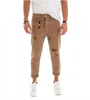 Pantalone Uomo Tinta Unita Camel Rotture Cinque Tasche GIOSAL