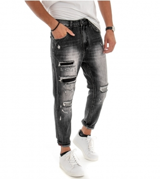 Pantalone Uomo Lungo Rotture Cinque Tasche Jeans Denim Grigio GIOSAL