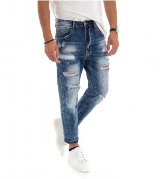 Pantalone Uomo Lungo Rotture Cinque Tasche Jeans Denim Blu GIOSAL