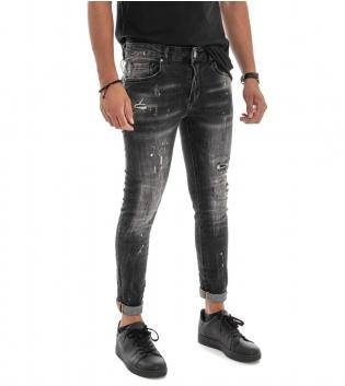 Pantalone Uomo Lungo Jeans Grigio Slim Rotture Macchie Pittura GIOSAL
