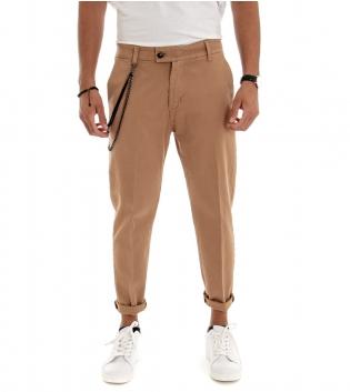 Pantalone Uomo Lungo Jeans Tinta Unita  Camel Classico Tasca America GIOSAL