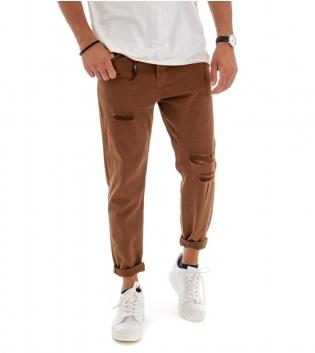 Pantalone Uomo Tinta Unita Tabacco Rotture Cinque Tasche GIOSAL
