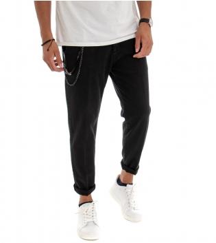 Pantalone Uomo Lungo Jeans Tinta Unita  Nero Classico Tasca America GIOSAL