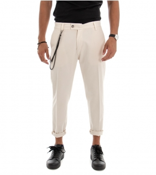 Pantalone Uomo Lungo Jeans Tinta Unita  Beige Classico Tasca America GIOSAL