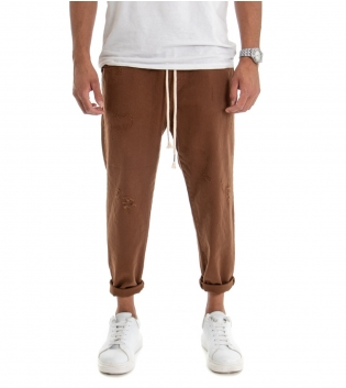Pantalone Uomo Jeans Tinta Unita Camel Rotture Elastico Coulisse  GIOSAL