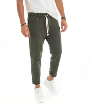 Pantalone Uomo Jeans Tinta Unita Verde Bottiglia Rotture Elastico Coulisse  GIOSAL