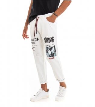 Pantalone Uomo Lungo Stampa Bianco Elastico Coulisse Tasca America GIOSAL