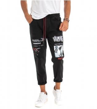 Pantalone Uomo Lungo Stampa Nero Elastico Coulisse Tasca America GIOSAL