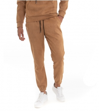 Pantalone Uomo Lungo Scamosciato Tinta Unita Camel Elastico Coulisse GIOSAL