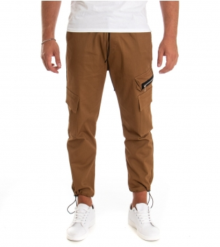 Pantalone Uomo Lungo Tinta Unita Zip Cargo Camel GIOSAL