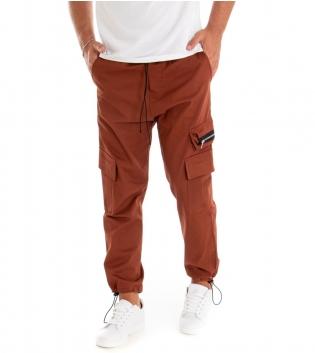 Pantalone Uomo Lungo Tinta Unita Zip Cargo Mattone GIOSAL