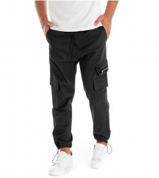 Pantalone Uomo Lungo Tinta Unita Zip Cargo Nero GIOSAL