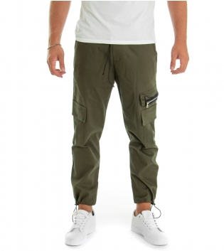 Pantalone Uomo Lungo Tinta Unita Zip Cargo Verde GIOSAL