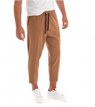 Pantalone Uomo Lungo Tinta Unita Camel Elastico Coulisse Classico GIOSAL