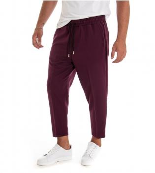 Pantalone Uomo Lungo Tinta Unita Bordeaux Elastico Coulisse Classico GIOSAL