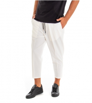 Pantalone Uomo Lungo Tinta Unita Bianco Elastico Coulisse Classico GIOSAL