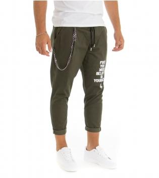 Pantalone Uomo Lungo Tinta Unita Verde Scritta Stampa Catena Elastico GIOSAL
