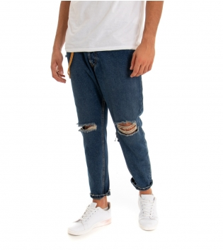Pantalone Uomo Lungo Jeans Denim Rotture MOD Cinque Tasche GIOSAL