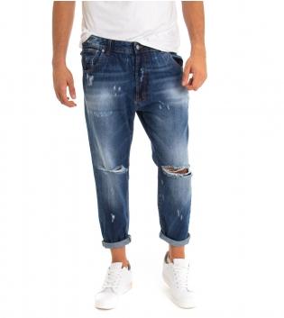 Jeans Uomo Lungo Rotture Black Svnday Denim Sfumato Cinque Tasche GIOSAL