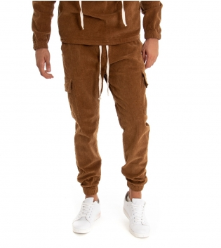 Pantalone Uomo Cargo  Lungo Velluto Tinta Unita Camel Costine Elastico GIOSAL