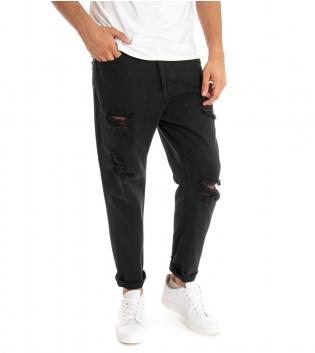 Pantalone Uomo Jeans Black Svnday Tinta Unita Nero Rotture Cavallo Basso GIOSAL