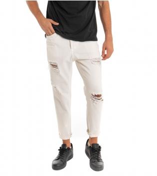 Pantalone Uomo Jeans Black Svnday Tinta Unita Bianco Rotture Cavallo Basso GIOSAL