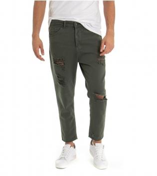 Pantalone Uomo Jeans Black Svnday Tinta Unita Verde Rotture Cavallo Basso GIOSAL-Verde-42