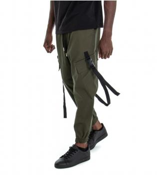 Pantalone Uomo Tinta Unita Verde Cargo Elastico Coulisse GIOSAL