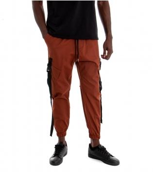 Pantalone Uomo Tinta Unita Tabacco Cargo Elastico Coulisse GIOSAL