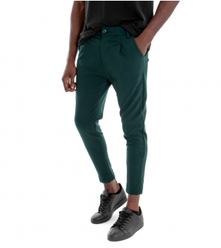 Pantalone Uomo Classico Tinta Unita Verde Pinces Tasca America Casual GIOSAL