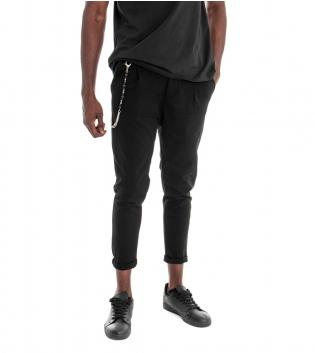 Pantalone Uomo Classico Tinta Unita Nero Pinces Tasca America Casual GIOSAL
