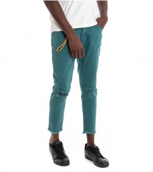 Pantalone Uomo Lungo MOD Tinta Unita Verde Petrolio Jeans Rotture Cavallo Basso GIOSAL