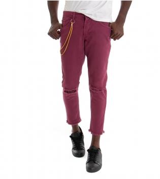 Pantalone Uomo Lungo MOD Tinta Unita Rosa Scuro  Jeans Rotture Cavallo Basso GIOSAL