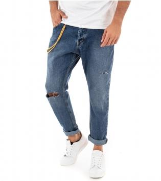 Pantalone Uomo Jeans MOD Lungo Denim Cinque Tasche Cavallo Basso Rotture Catenina GIOSAL