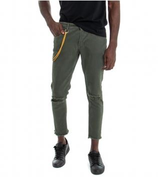 Pantalone Uomo Lungo MOD Tinta Unita Verde Jeans Rotture Cavallo Basso GIOSAL
