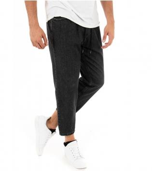 Pantalone Uomo Lungo Jeans Denim Nero Scuro Elastico Coulisse Casual Tasca Boyfriend GIOSAL