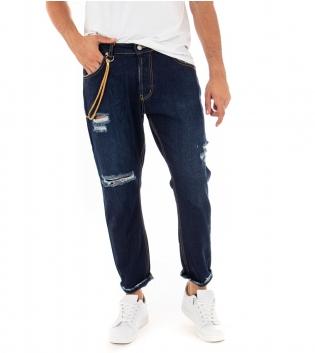 Pantalone Uomo Jeans Denim Scuro MOD Rotture Cinque Tasche Cavallo Basso GIOSAL