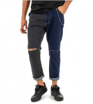 Pantalone Uomo Jeans Lungo Rotture Nero Blu MOD Cinque Tasche Cavallo Basso GIOSAL