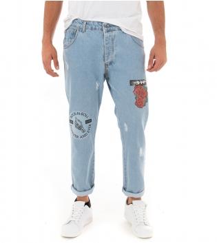Pantalone Uomo Jeans Stampa Rotture Black Svnday Cinque Tasche GIOSAL