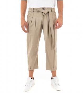 Pantalone Uomo Lungo Classico Tinta Unita Beige Laccio Pinces GIOSAL