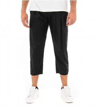 Pantalone Uomo Lungo Classico Tinta Unita Nero Laccio Pinces GIOSAL