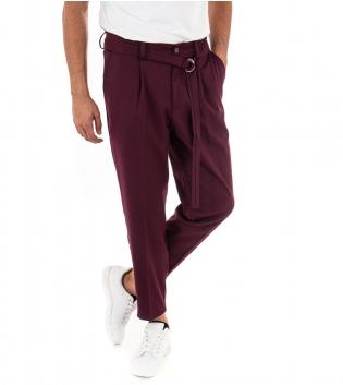 Pantalone Uomo Lungo Paul Barrell Tinta Unita Bordeaux Affusolati Casual Cavallo Basso GIOSAL