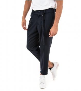 Pantalone Uomo Lungo Paul Barrell Tinta Unita Blu Affusolati Casual Cavallo Basso GIOSAL