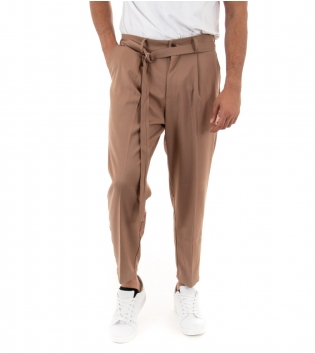 Pantalone Uomo Lungo Paul Barrell Tinta Unita Camel Affusolati Casual Cavallo Basso GIOSAL