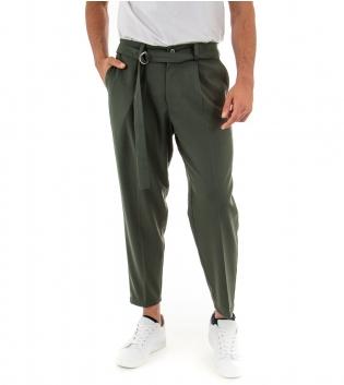 Pantalone Uomo Lungo Paul Barrell Tinta Unita Verde Affusolati Casual Cavallo Basso GIOSAL