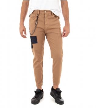 Pantalone Uomo Lungo Tinta Unita Toppe Camel Slim Catenina Casual GIOSAL