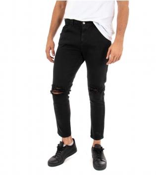 Pantalone Uomo Lungo Jeans Tinta Unita Nero Akirò Rotture Cinque Tasche GIOSAL