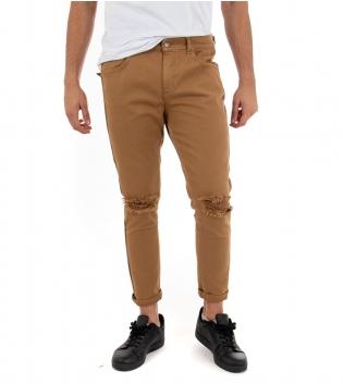 Pantalone Uomo Lungo Jeans Tinta Unita Camel Akirò Rotture Cinque Tasche GIOSAL